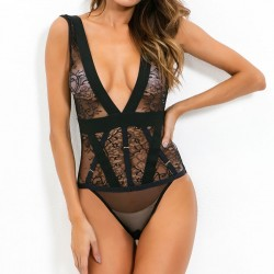 Sexy Flower Black Lace Mesh Perspective Conjoined Underwear Intimate Lingerie