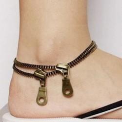 Persönlichkeit Kreativ Retro Doppelt Reißverschluss Fuß Schmuck Fußkettchen