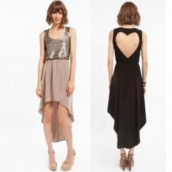 Mode Zurück Herzförmigen Stitching Pailletten Chiffon-Kleid