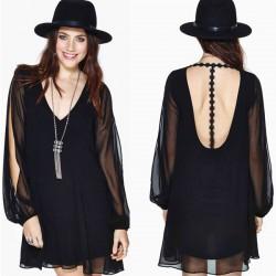 Tiefer V Auf dem Rücken gesticktes langes Durchlässig Split-Hülsen-Kleid