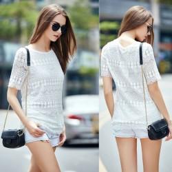 Schlank aushöhlen Crochet Lace Top Kurzhülse T-Shirt