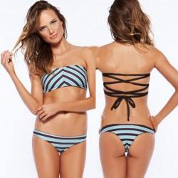 Wellenförmiger gestreifter Druck-Bikinis stellte Verband-Badebekleidungs-Strand-Badeanzug ein