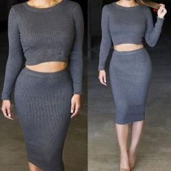 Damen stricken Midi Rock Outfit zwei Stück bodycon engen Kleid