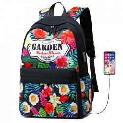 Fresh Flower Garden Student Bag USB Floral Large College Canvas Backpack