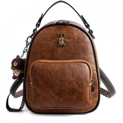 Leisure Multi-function Shoulder Bag Cute Cartoon Bee Decor Handbag PU Student Backpack