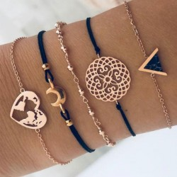 Neu Dreieck Schwarz Türkis-Liebe Karte Mond Armband mit fünf Teilen