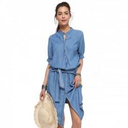 Mode Stehkragen Lässig Unregelmäßige Dünne Falten Denim Kleid