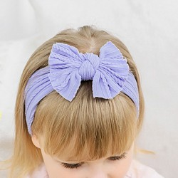 Lovely Bow Elastic Force Nylon Bandage Child Headband Fold Style Bow Baby Headband