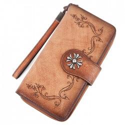 Retro bestickte Single Buckle Rindsleder handgewaschen lange Damen Geldbörse Original Leder Geldbörse Unterarmtasche