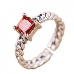 Retro- thailändische silberne quadratische rote Zircon-Torsions-Webart-offene Ringe