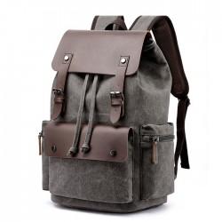 Freizeit Doppelschnalle Leder Dicke Leinwand Große Reisetasche Schulrucksäcke