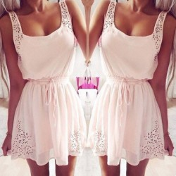 Süße Taille String ärmellosen Chiffon-Kleid