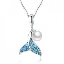 Mode Kristall Meerjungfrau Schwanz Perle Anhänger Silber Frauen Halskette Blau Diamant Halskette