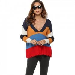 Sexy Frauen Kontrastfarbstreifen Tiefer V-Ausschnitt Pullover