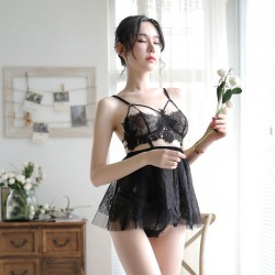 Sexy Pajamas Sling Perspective Skirt Women Lingerie Lace Bra Set Nightdress