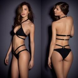 Schwarz Set Halfter Hochdrücken Badeanzug Bikinis