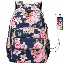 Frisch Blume USB-Laptop-Rucksack mit Großer Kapazität Rosen-Schultasche