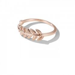 Art- und Weisefeder-Rosen-Goldoffener Frauen-Ring verlässt Ring