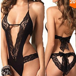 Sexy Bow Bandage Intimates Black Lace Hollow Women Lingerie