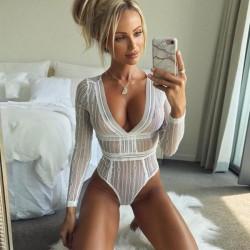 Sexy verbundene lange Ärmel rückenfreie Spitze Perspektive Frauen intime Dessous