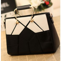 Einzigartig Schwarz Weiß Joint Lattice Handtaschen