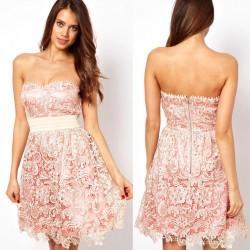 Mode Rosa aushöhlen Stickerei-Spitze-trägerlosen Kleid