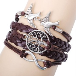 Einzigartiger Lebensbaum Tauben Infinity Armband