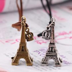 Eiffelturm Kronen Leder Lange Halsketten