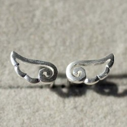 Angel Wings Frosted Silber Ohrstecker