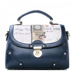Retro Britische Stil Clock Leder Handtasche Schultertasche