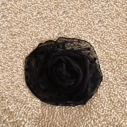 Elegant Schwarz Aushöhlen Polka Punkt Spitze Unendlichkeit Schal