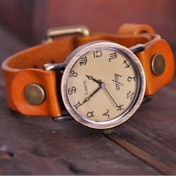 Retro Konstellation Symbol Leder Uhr