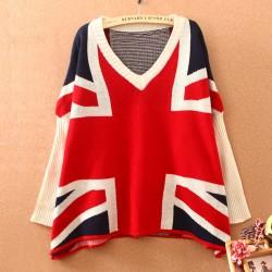 Mode Britische Flagge Fledermaus Ärmel Lose Strickjacke