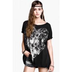 Mode Jugend Persönlichkeit Rauch gestrichene Druck T-shirt