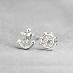 Marine Anker Ruder Silber Ohrring Bolzen
