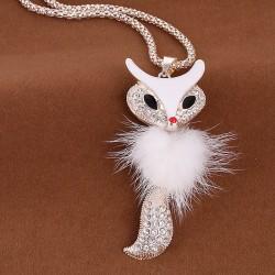 Glanzrhinestone Fuchs Plüsch Lange Pullover Halskette