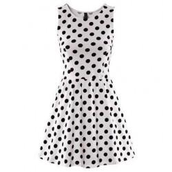 Wellen-Punkt-Muster Springy ärmellosen Ausgestelltes Kleid