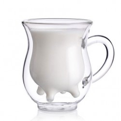 Kreativ Doppelt Glas Mikrowellengeeignet Kuh Tasse