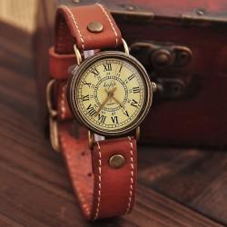 Retro römisch Rahmen Leder Uhr