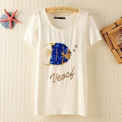 Lose Gedruckt Kurzarm-Fisch Pailletten T-Hemd