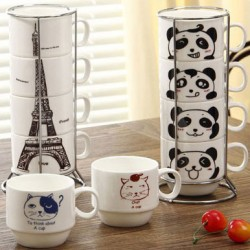 Creative Tower Animal Pattern Four Cups Set Ceramic Mug/Cup