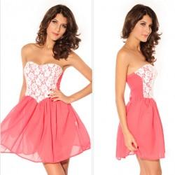 Schöne Rosafarbene Spitze Tee Kleid