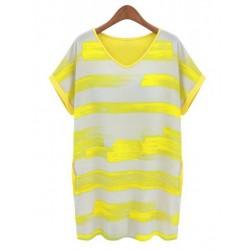 Frische Gestreiftes Spleiß Lockerung Kleid