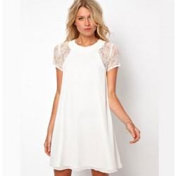 Spitze-Hülsen mit Reißverschluss hinten-Chiffon-Kleid