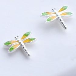 Süße lebendige Libelle Gelb Grüne Flügel Silber Mädchen Tier Ohrstecker