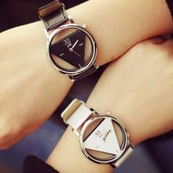 Arbeiten Sie einfaches Dreieck-Höhlen-Paar-transparente Studenten Uhr um