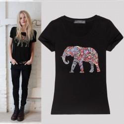 Schlank Rundhalsausschnitt-Printing Elefant Kurzarm-Shirt