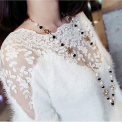 Blumenmuster Spitze Stitching Mohair Pullover