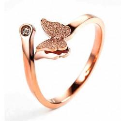 Einzigartige lebendige Doppelschicht mattiert Schmetterling Tier Roségold Mädchen Öffnen Ring