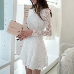 Frauen nehmen Spitze reizvolle langärmliges Kleid